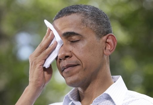 Obama mopping his brow